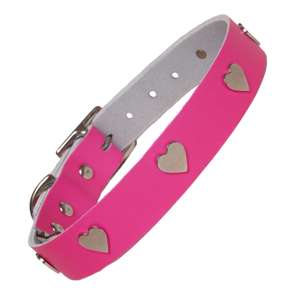 Neon Pink Leather Designer Dog Collar Creature Clothes UK