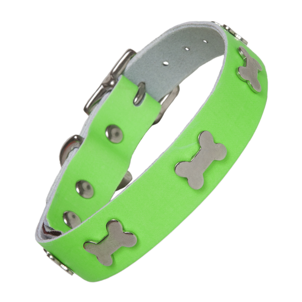 Neon Green Leather Designer Dog Collar Creature Clothes UK