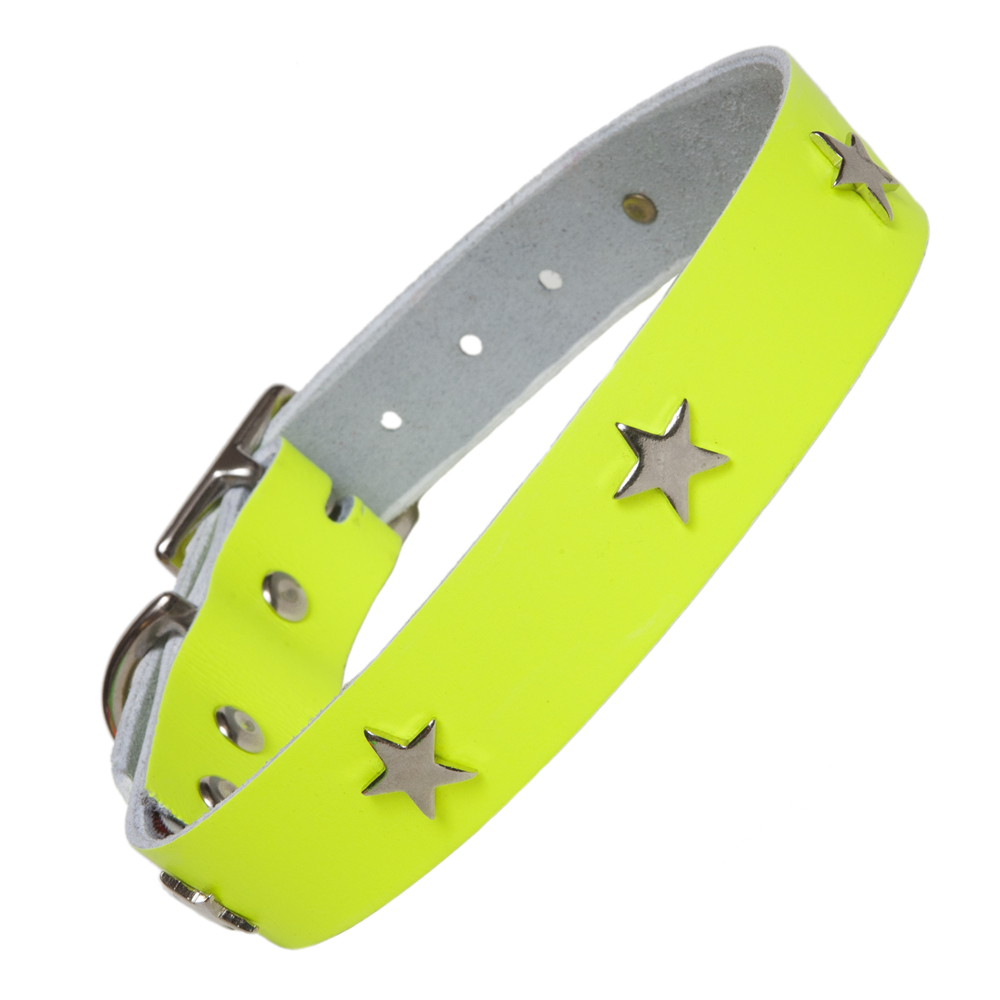 Neon Yellow Leather Designer Dog Collar Creature Clothes UK