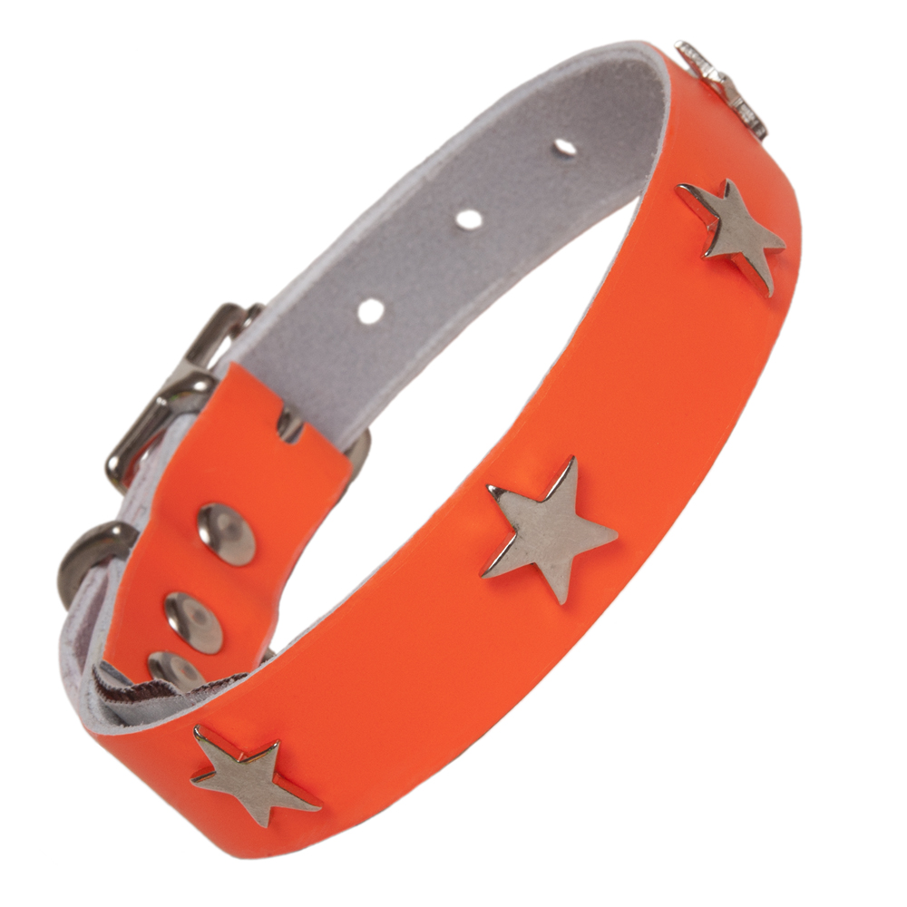 Neon Orange Leather Designer Dog Collar Creature Clothes UK