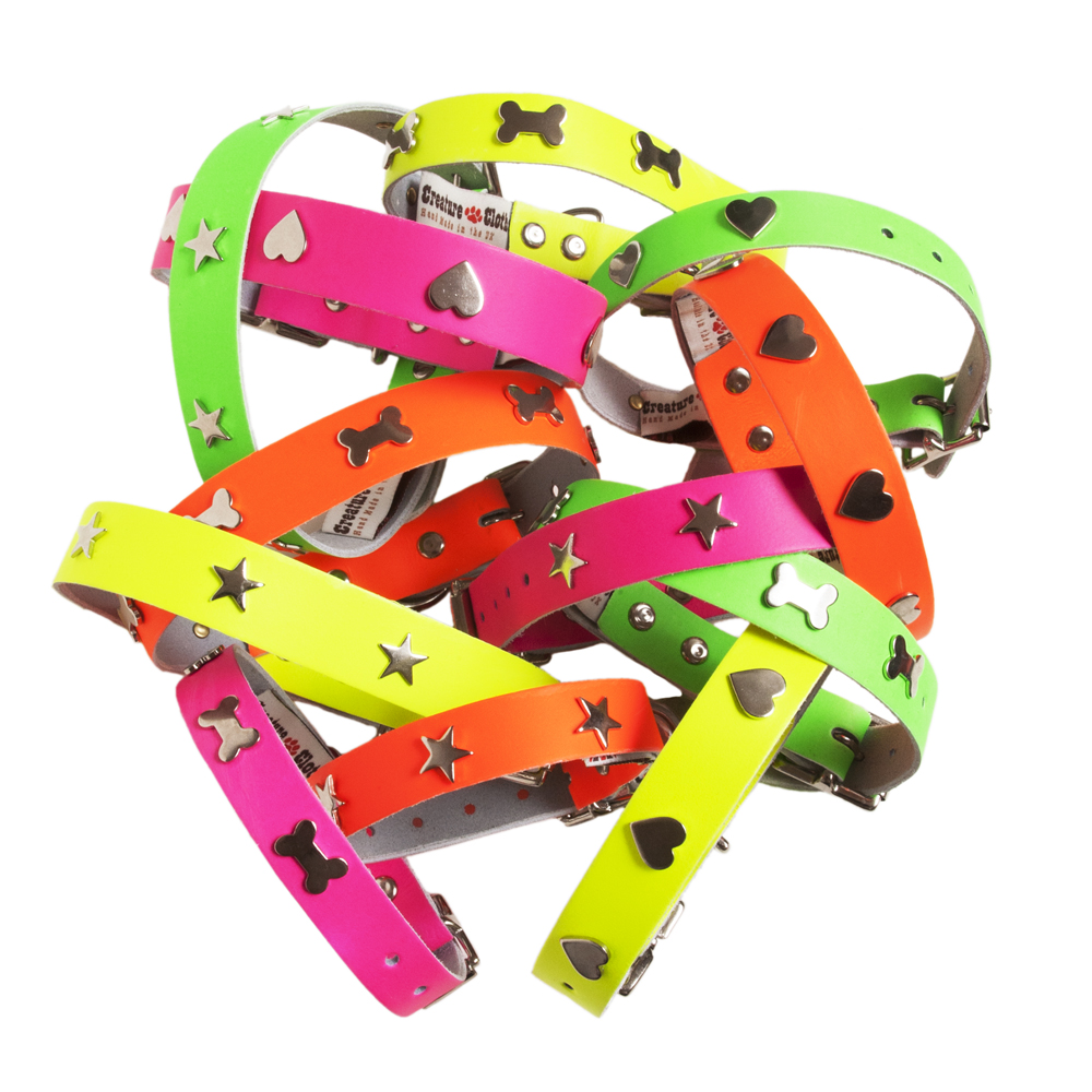 Neon Leather Designer Dog Collar Creature Clothes UK