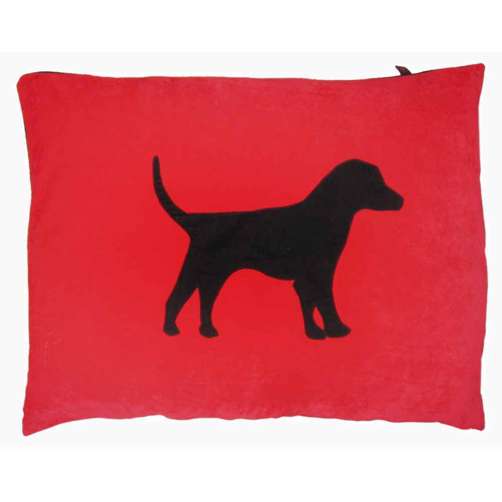 labrador dog doza bed black on red creature clothes