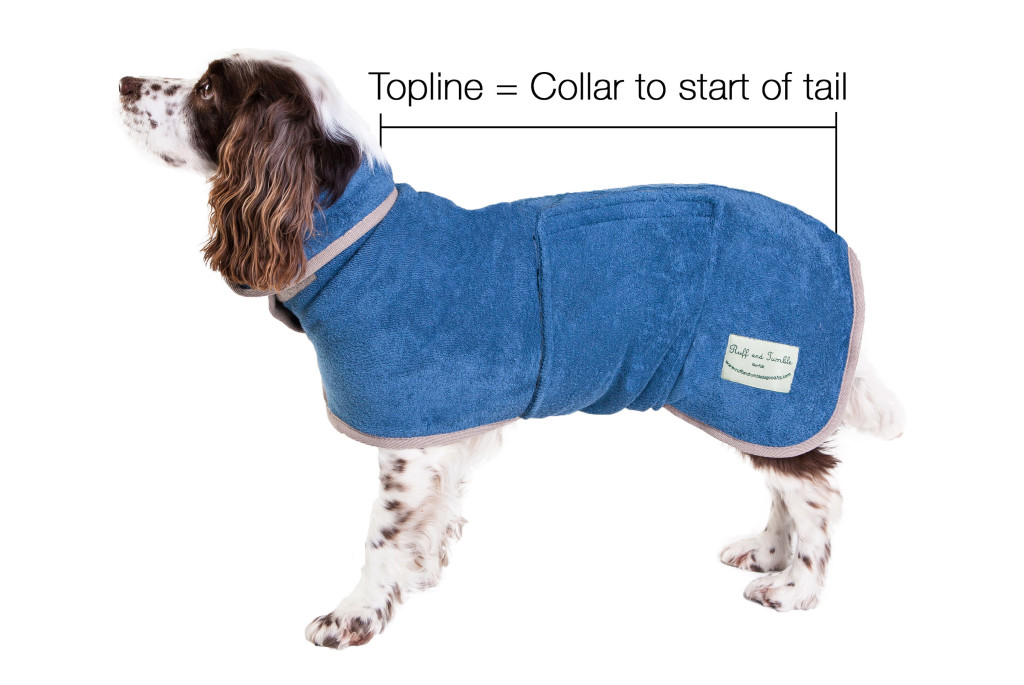Ruff and Tumble Drying Dog Coats Topline Size Guide