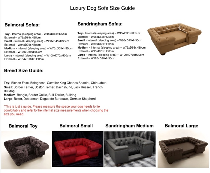 Luxury Dog Sofas Size Guide