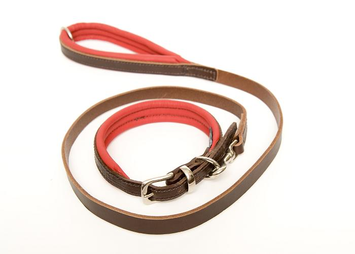 Dogs & Horses colours leather dog collar and lead set pastel red