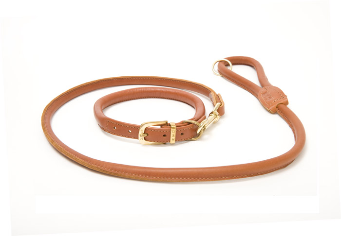 Dogs and Horses Rolled Leather Dog Collar and Lead Set Cognac
