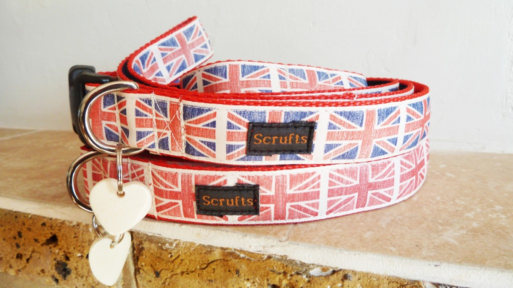 union jack dog collar and lead sets
