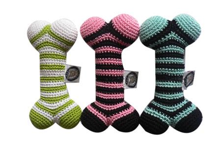 Luxury Dog Toys Crochet Dog Bone Stripe Toys