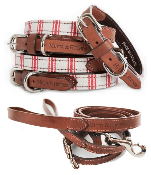 Mutts And Hounds Luxury Cranberry Stripes Dog Collar and Leather Lead Set