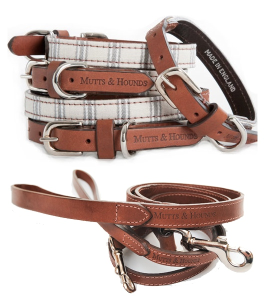 Mutts And Hounds Luxury Mist Stripes Dog Collar and Leather Lead Set