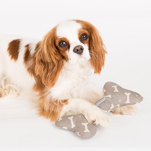 mutts and hounds mushroom bones linen bone dog toy