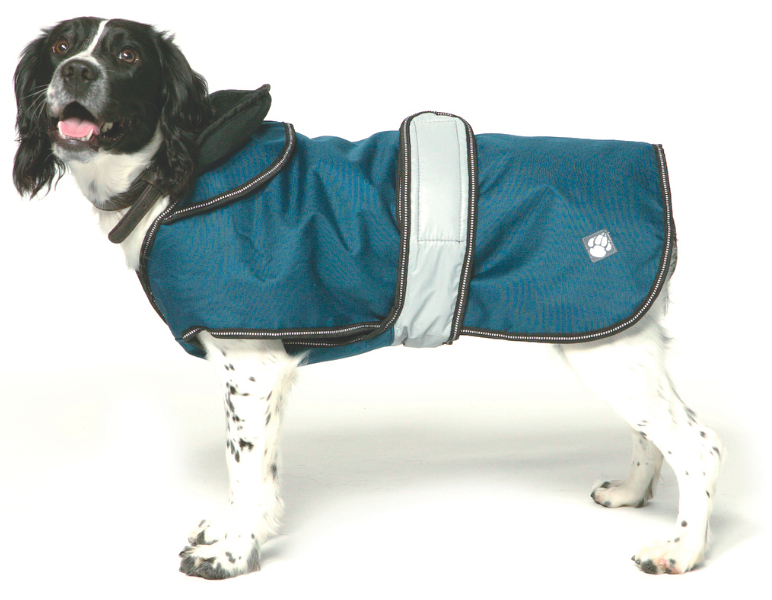 Chelsea Dogs Luxury Pet Shop Danish Design Ultimate 2 in 1 Waterproof Dog Coat Blue with Dog