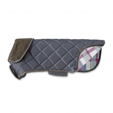 doodlebone quilted waterproof dog coat charcoal
