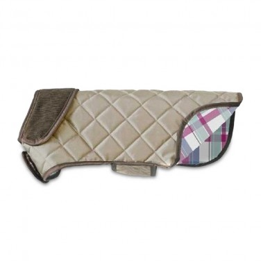 doodlebone quilted waterproof dog coat stone