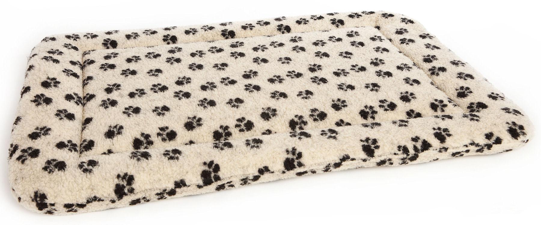 Dog Crate Cushion Pads Cream Paw Print Fleece