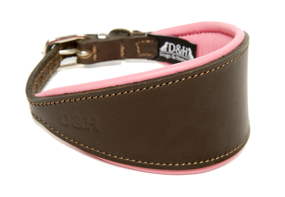 Dogs and Horses Luxury Leather Hound Collar Pink