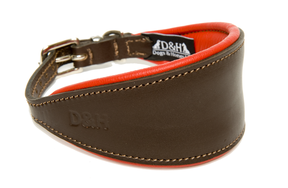 Dogs and Horses Luxury Leather Hound Collar Red