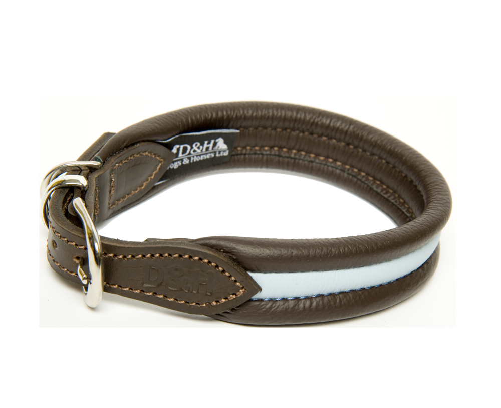 Dogs and Horses Luxury Leather Striped Ribbed Dog Collar Pale Blue