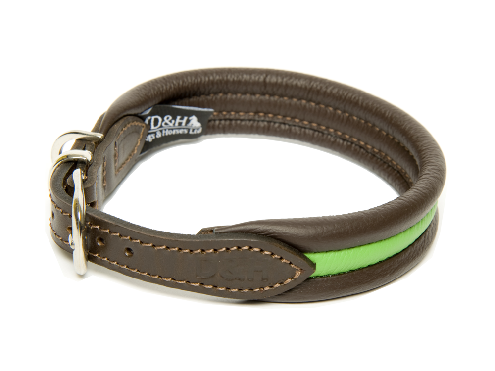 Dogs and Horses Luxury Leather Striped Ribbed Dog Collar Green