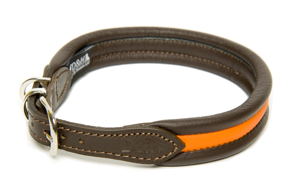 Dogs and Horses Luxury Leather Striped Ribbed Dog Collar Orange