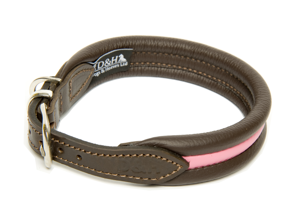 Dogs and Horses Luxury Leather Striped Ribbed Dog Collar Pink