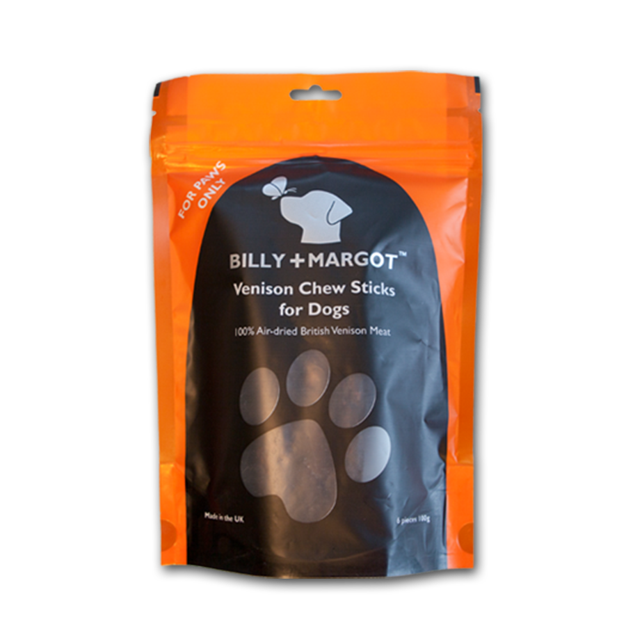 Natural 100% Venison Chew Sticks Luxury Dog Treats by Billy and Margot