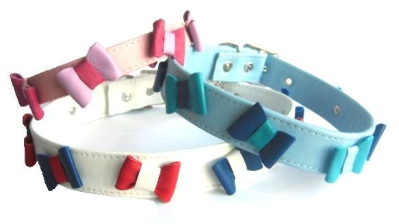 Bowlicious Leather Mini Bow Tie Dog Collars For Chihuahuas