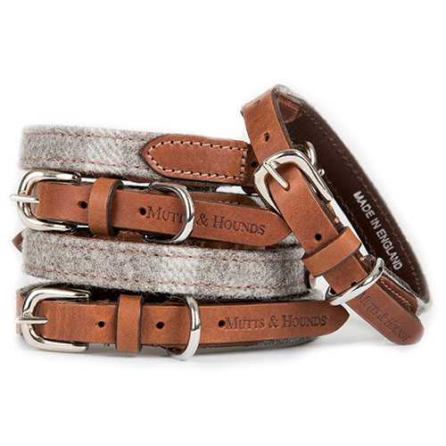 Slate Tweed and Leather Designer Dog Collar for Chihuahuas