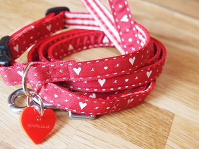 Hearts And Kisses Designer Puppy Collar and Lead Sets