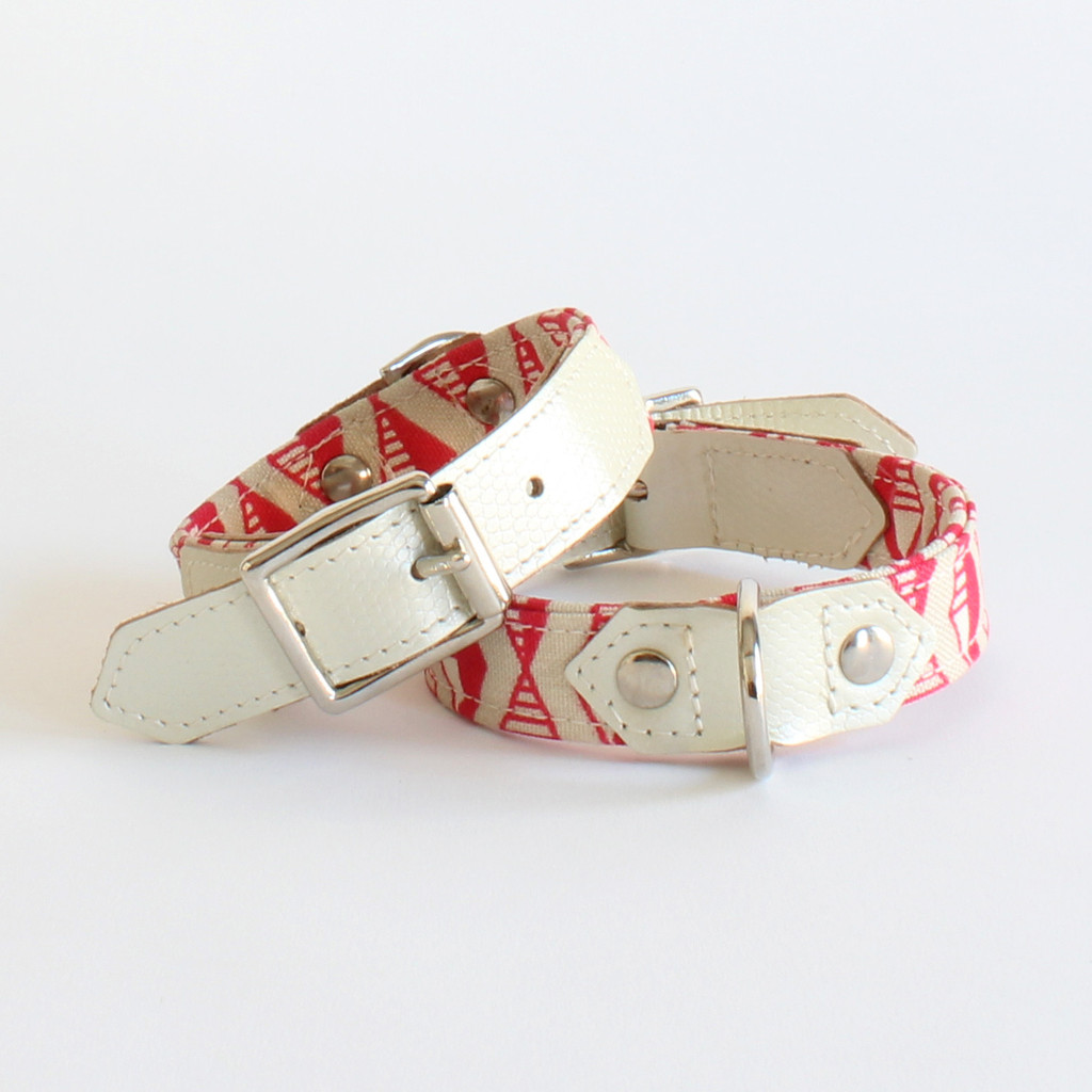 Hiro And Wolf Coral Pink Geometric Print Designer Dog Collars