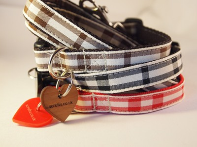 Picnic Check Designer Puppy Collar and Lead Sets