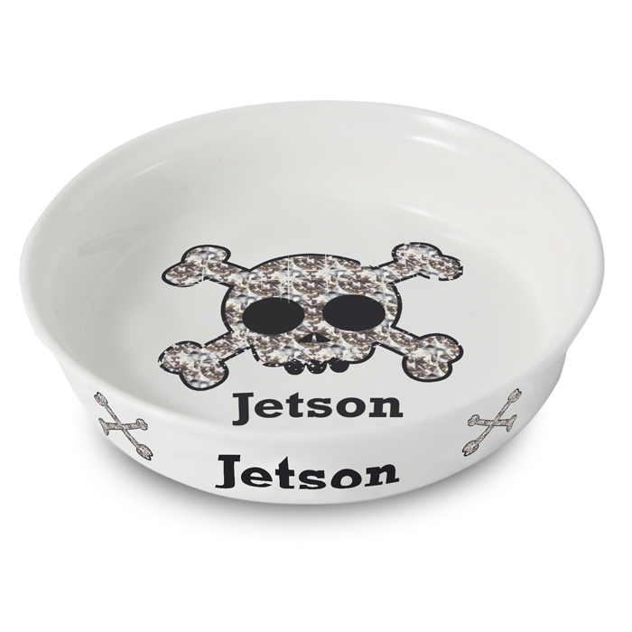 Bling Skull And Bones Personalised Dog Bowl
