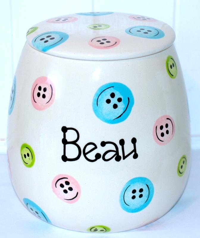 Personalised Ceramic Buttons Treat Jars