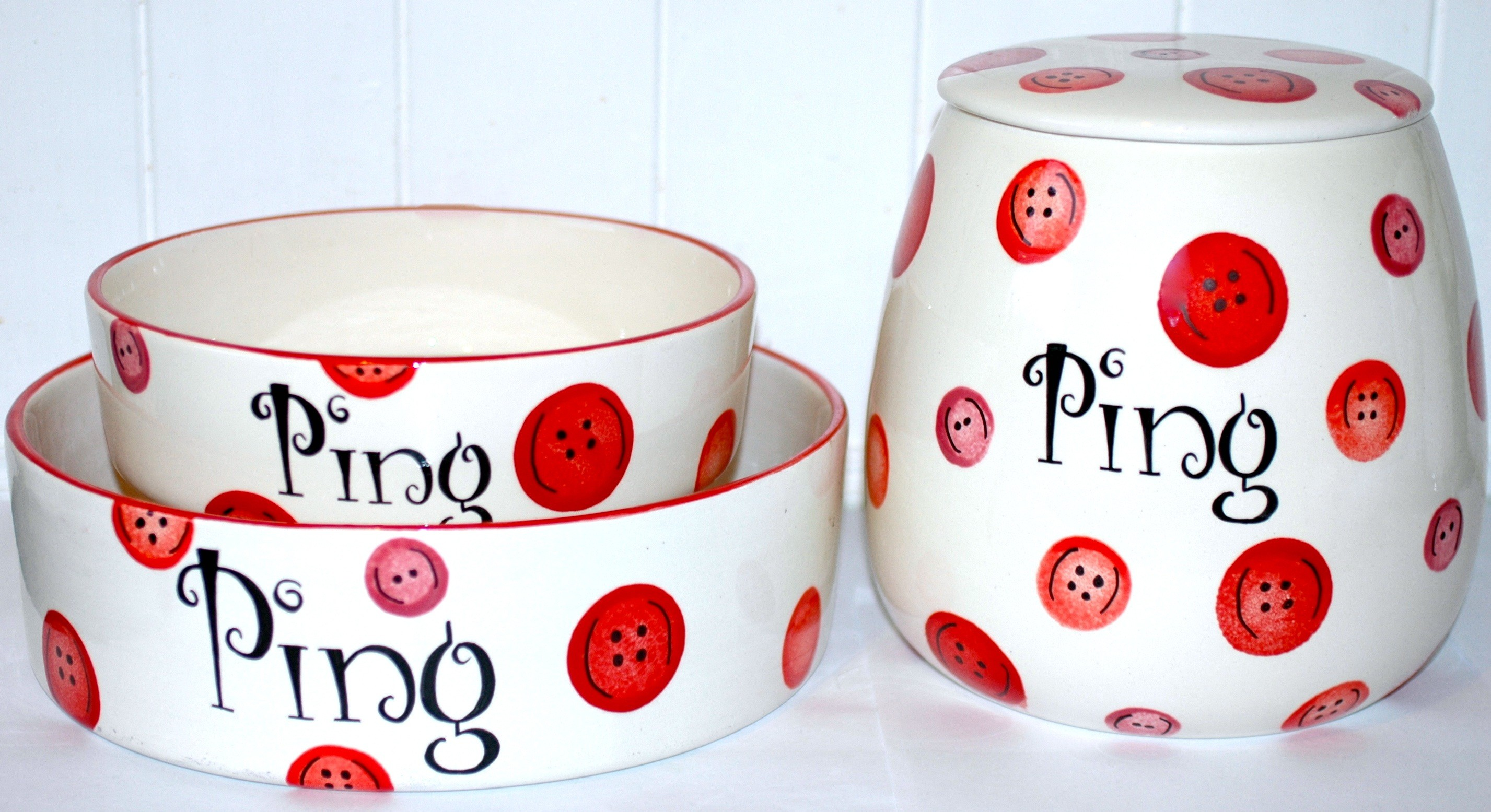Personalised Ceramic Buttons Dog Bowls & Treat Jar Set