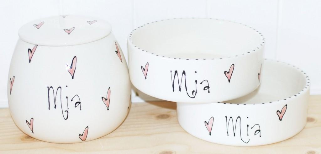 Personalised Ceramic Whimsical Dog Bowls & Treat Jar Set