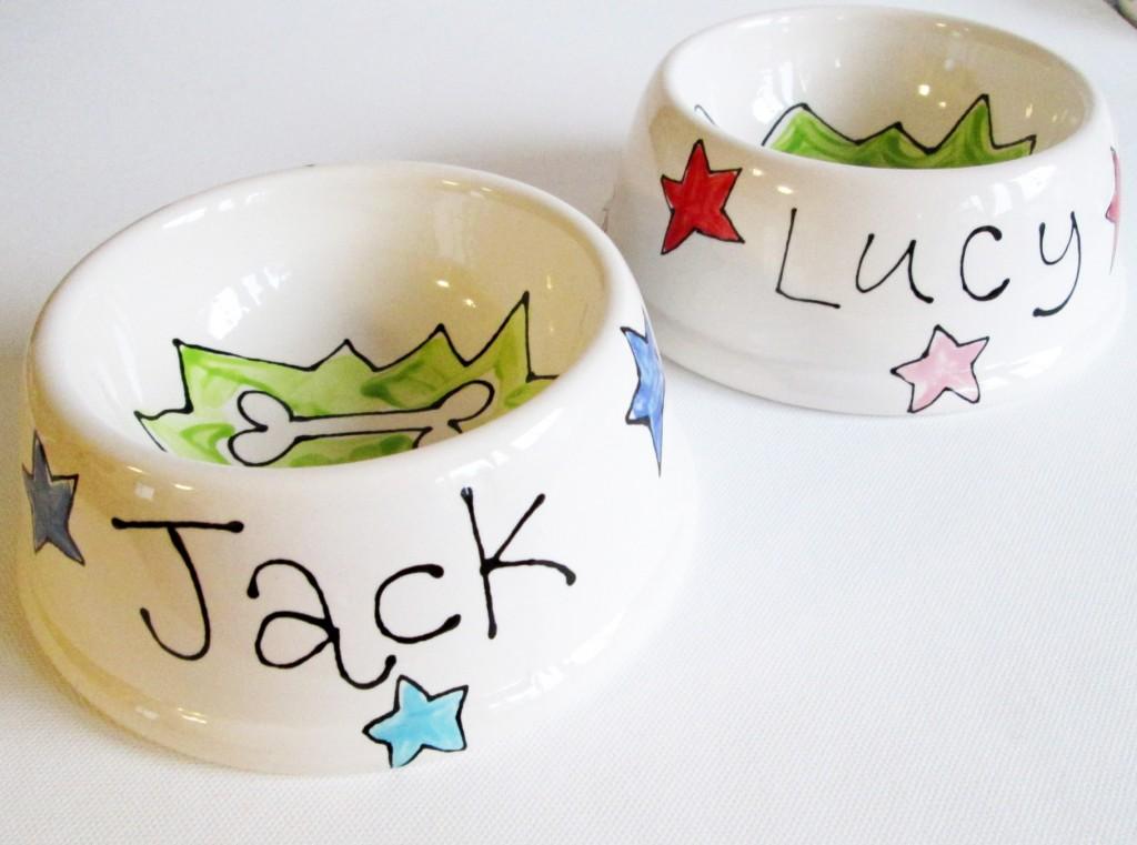 Personalised Stars Ceramic Dog Bowl Small