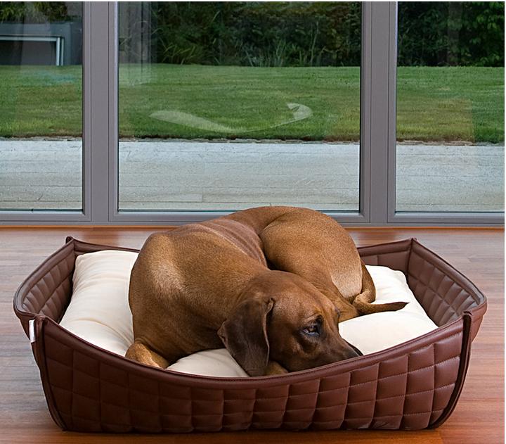 Luxury Faux Leather Orthopaedic Bowl Dog Bed