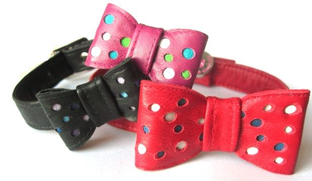Multi Spotty Dotty Leather Bow Tie Dog Collar