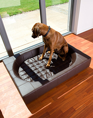 Luxury Faux Leather Cube Dog Bed