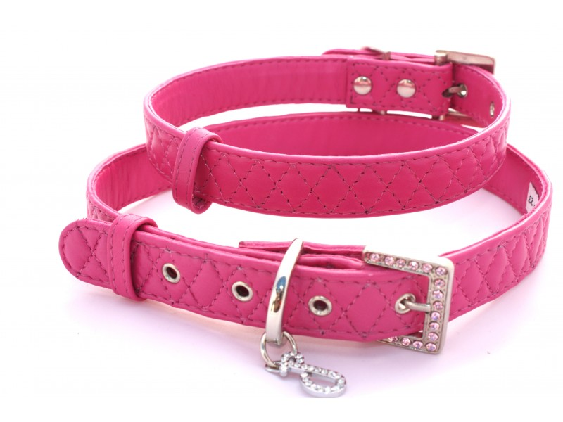 Bright Fuchsia Pink Quilted Dimond Leather Dog Collar