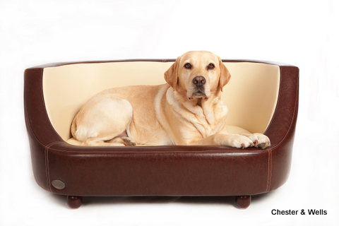 Oxford I Luxury Leather Brown Dog Bed by Chester and Wells