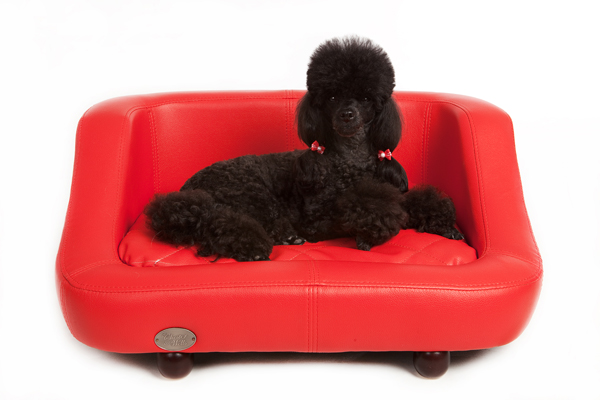 Richmond Luxury Leather Red Dog Bed by Chester and Wells
