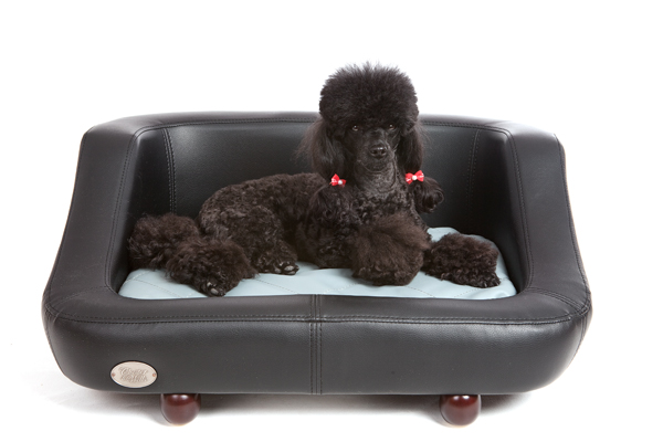 Richmond Luxury Leather Black Dog Bed by Chester and Wells