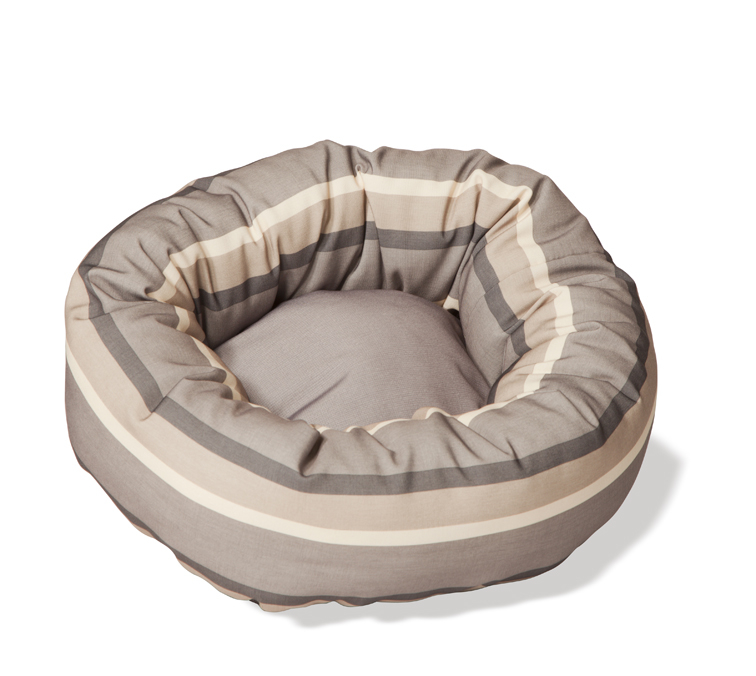 Rambla Beige Stripe Round Cushion Dog Beds For Chihuahuas by Danish Design