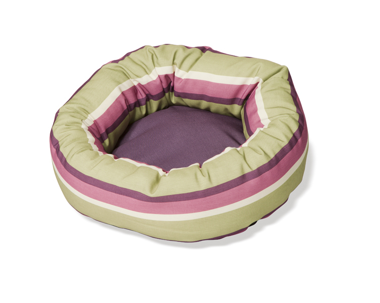 Rambla Lime and Purple Stripe Round Cushion Dog Beds For Chihuahuas by Danish Design
