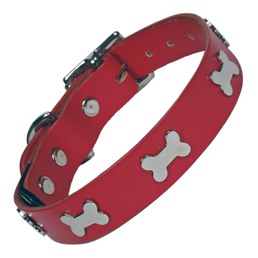Creature Clothes Red Leather Dog Collar With Silver Bones