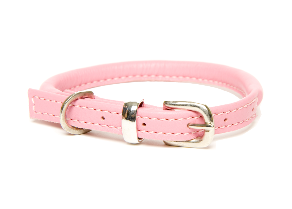 Dogs & Horses Rolled Leather Pink Dog Collar