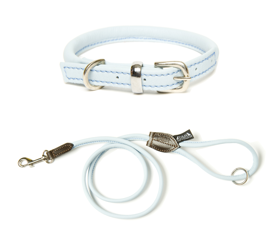 Dogs & Horses Rolled Leather Pale Blue Dog Collar and Lead Set