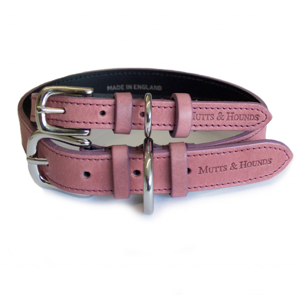 Mutts and Hounds Heather Leather Dog Collar