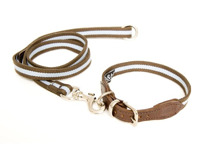 Dogs & Horses Striped Cotton Webbing Blue Dog Collar and Lead Set